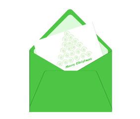 Tarjeta de Feliz Navidad con sobre y árbol en tonos verdes