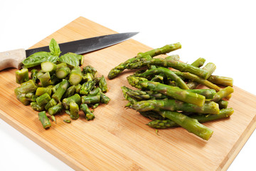 fresh green asparagus spears,