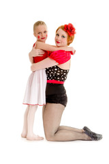 Mother and Daughter Circus Dancer Performers