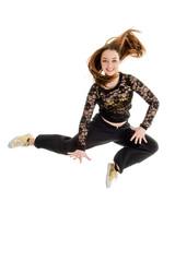 Jumping Teenage Hip Hop Dancer