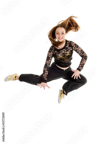 Jumping Teenage Hip Hop Dancer