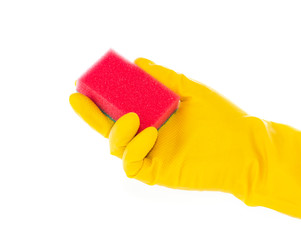 Hand in rubber glove with red cleaning sponge