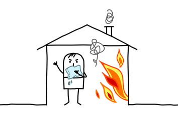 man in house & fire
