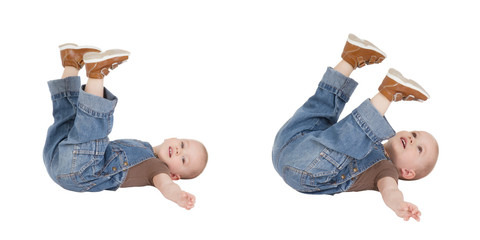 kid is lying with lifted legs
