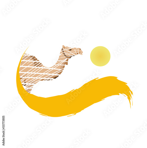 Camel in the desert, vector illustration