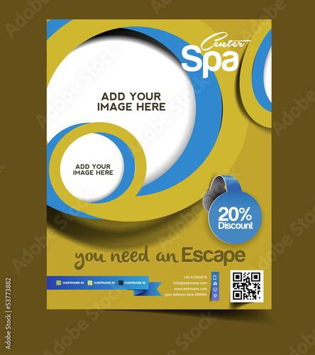 Vector spa brochure, flyer, magazine cover