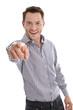Jung dynamisch erfolgreich - Junger Mann isoliert - Zeigefinger