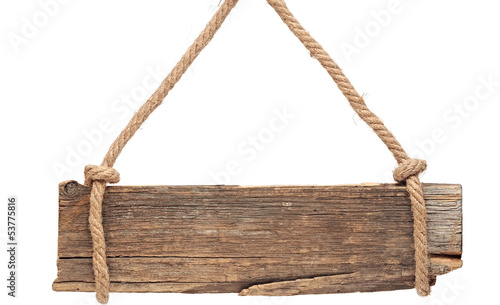 old wooden signboard isolated on a white