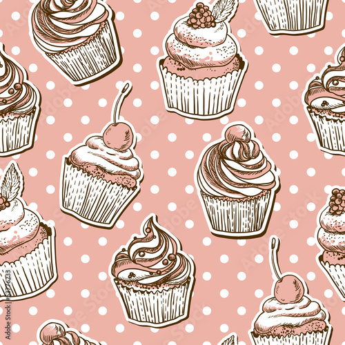 Poster seamless pattern with cakes