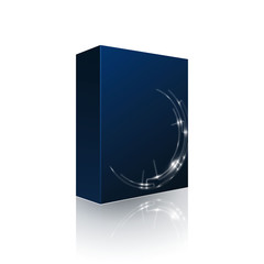 Modern Software Package Box Blue With DVD Or CD Disk EPS10