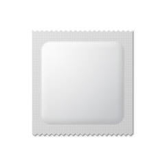 White Blank Condom Wrapper. Foil Pack Template