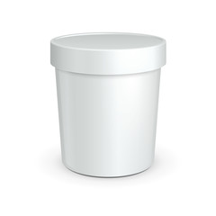White Tub Food Plastic Container For Dessert, Yogurt, Ice Cream