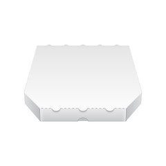 Close Up White Blank Carton Pizza Box. Ready For Your Design