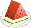 Watermelon slice on dish