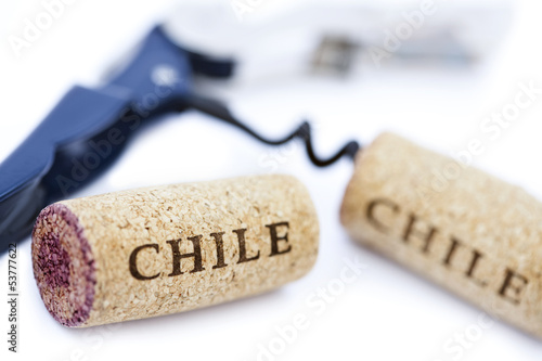 Isolated 'Chile' Corks & Bottle Opener