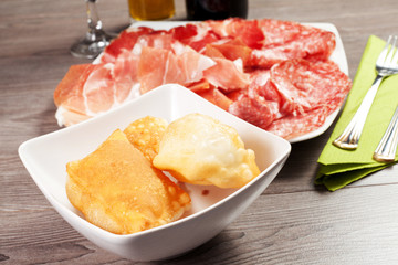 pancakes with ham and meat products
