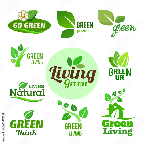 Set of Bio - Ecology - Green icons