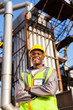 afro american oil industrial worker in refinery plant