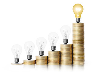 light bulb on gold coins and graph them