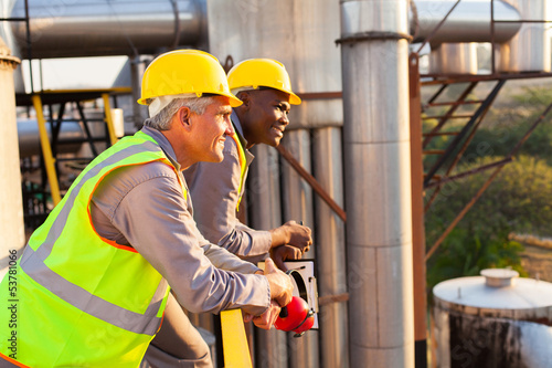 industrial workers in safety gear