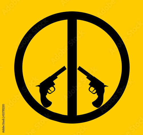 peace sign formed by hand guns
