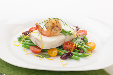 Poached Halibut and Spicy Shrimp