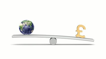 シーソーの上の地球とポンド(Looping Animation)
