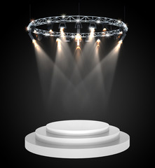 3d empty stage with spotlight