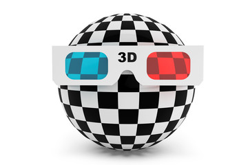 Abstract ball with 3d glasses