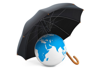 Protection of an environment concept. Umbrella covers the planet