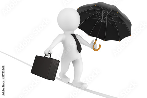 3d business person balanced with a briefcase and a umbrella