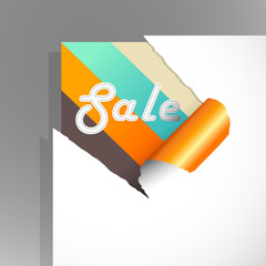 Teared paper with colored stripes and sale text.