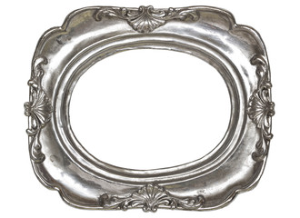 Oval silver picture frame with a decorative pattern