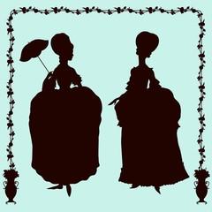 Rococo style historic fashion women silhouettes