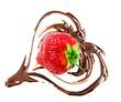 Leckerer Sommer-Genuss: Frische Erdbeere mit Schokolade