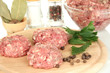 Raw meatballs with spices