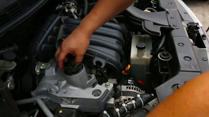 Checking car engine fluid