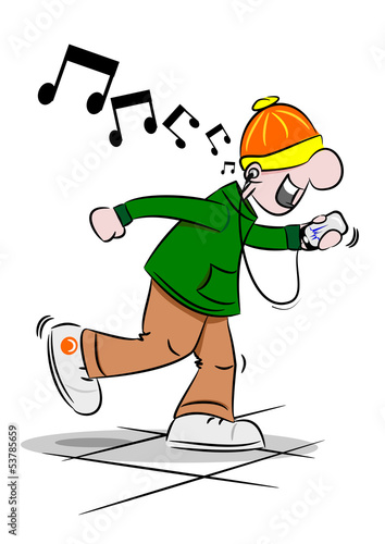 A cartoon youth dancing to music on his mobile phone