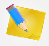 Yellow paper with pencil vector illustration