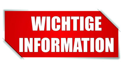 Steck Sticker rot WICHTIGE INFORMATION
