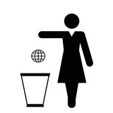 Earth sign dropping in a trash by woman