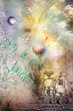 Grunge background with ship and hot air balloon
