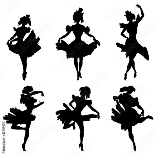 Cabaret dancer vector silhouettes set