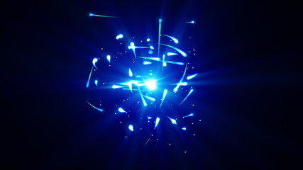 blue particles rush and light loop