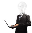 Lamp head businessman holding computer laptop PC