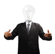 Lamp head businessman hand holding