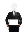 Lamp head businessman holding computer laptop screen
