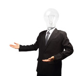 Lamp head businessman open palm hand gesture