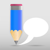 Pencil with speech bubble Vector illustration