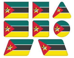 set of buttons with flag of Mozambique